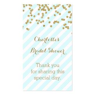 El oro del azul de cielo raya etiquetas nupciales tarjetas de visita