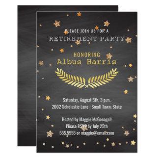 El oro del fiesta de retiro protagoniza al invitación 12,7 x 17,8 cm