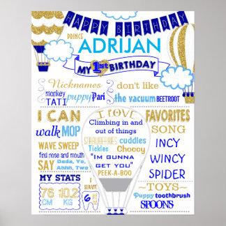 El oro del globo del aire caliente y el cumpleaños póster