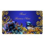 El oro del pájaro del vintage florece el azul del  tarjetas de visita