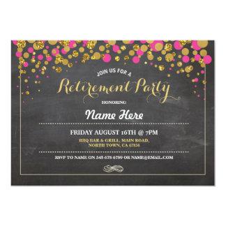 El oro del rosa de la tiza del fiesta de retiro invitación 12,7 x 17,8 cm