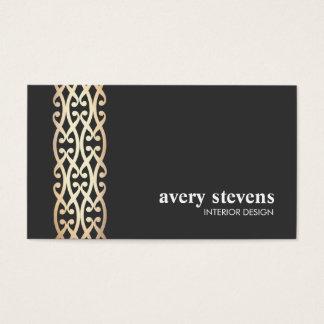 El oro elegante del interiorista enrolla negro tarjeta de visita