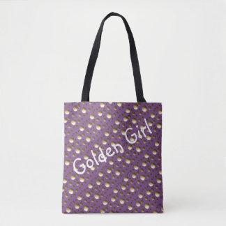 El oro elegante puntea el bolso de la lila para la bolso de tela