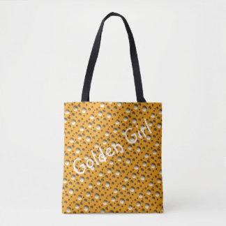 El oro elegante puntea el bolso para la playa o bolso de tela