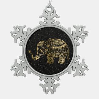 El oro entona el ejemplo del elefante adorno de peltre en forma de copo de nieve