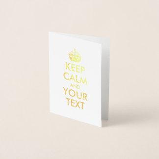 El oro guarda calma y su texto tarjeta con relieve metalizado