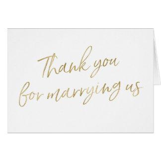 """El oro """"le agradece por casarnos """" tarjeta de felicitación"""