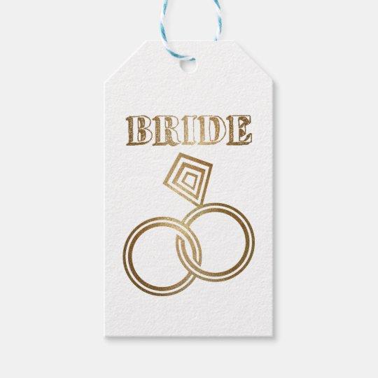 El oro ligado suena el boda de la novia etiquetas para regalos