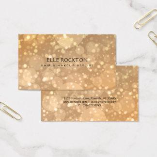 El oro minimalista Bokeh enciende la tarjeta de