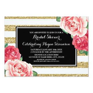 El oro negro raya la ducha nupcial de las flores invitación 12,7 x 17,8 cm