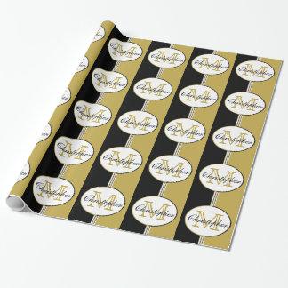 El oro negro y antiguo raya el monograma papel de regalo