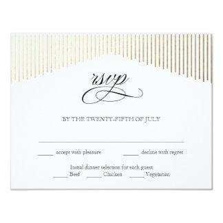 El oro pesca la tarjeta de RSVP con caña del art Invitación 10,8 X 13,9 Cm