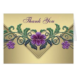 El oro púrpura de la petunia le agradece las tarjeta pequeña