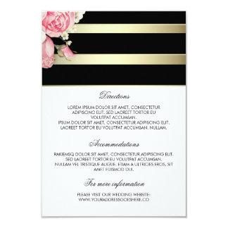El oro raya los detalles florales del boda - invitación 8,9 x 12,7 cm