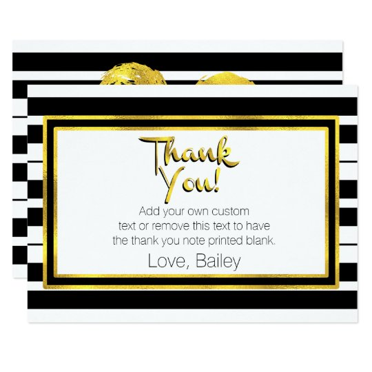 El oro, rayado blanco y negro le agradece las invitación 8,9 x 12,7 cm