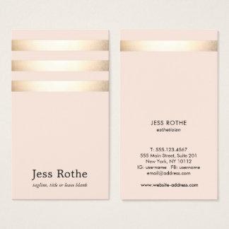 El oro rayado se ruboriza profesional rosado de la tarjeta de visita