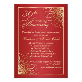 El oro remolina en la foto del aniversario de boda invitación 11,4 x 15,8 cm