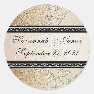 El oro remolina pegatina negro del boda de la