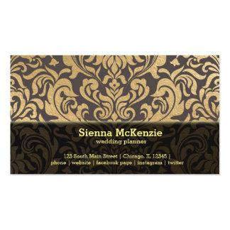 El oro remolina planificador del boda del damasco tarjetas de visita