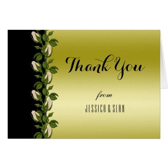 El oro romántico floral elegante y el negro le tarjeta de felicitación