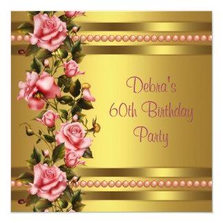 El oro rosado de los rosas subió a la 60.a fiesta invitación 13,3 cm x 13,3cm