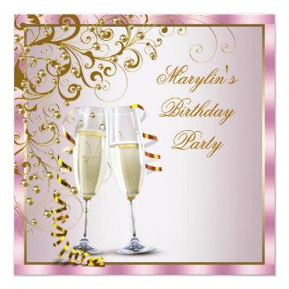 El oro rosado gotea a la fiesta del cumpleaños de invitación 13,3 cm x 13,3cm