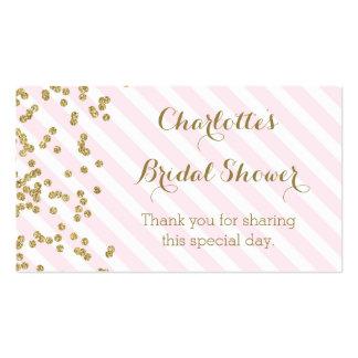 El oro rosado raya etiquetas nupciales del favor tarjetas de visita