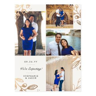 El oro sale de la invitación del embarazo de 4 postal