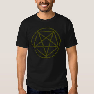 El oro se descoloró camiseta satánica del símbolo