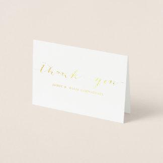 El oro simple le agradece Notecard Tarjeta Con Relieve Metalizado