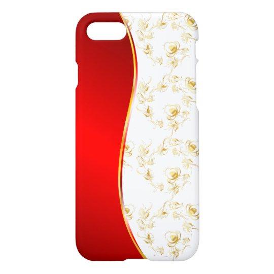 El oro subió el falso modelo del brillo en el oro funda para iPhone 7