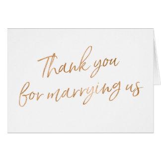 """El oro subió """"le agradece por casarnos """" tarjeta de felicitación"""