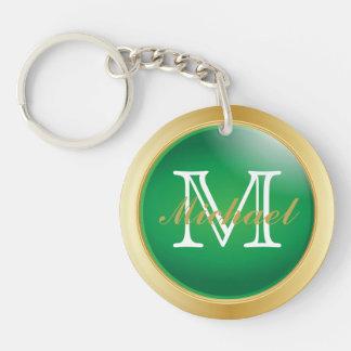 El oro verde con clase diseñó el monograma del | llavero redondo acrílico a doble cara