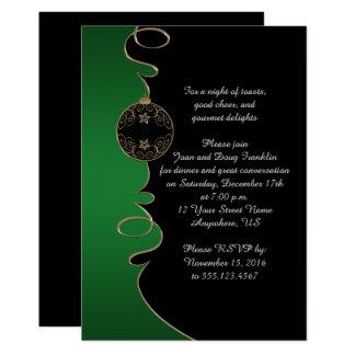 El oro verde elegante remolina fiesta de Navidad Invitación 12,7 X 17,8 Cm