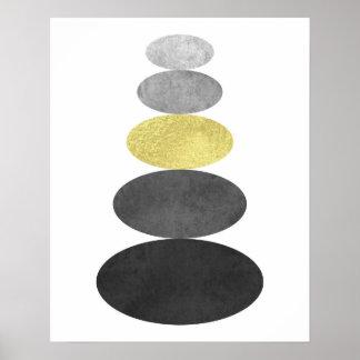 El oro y el arte negro del guijarro del zen