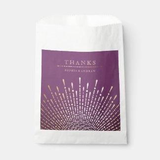 El oro y el boda púrpura del vintage del art déco bolsa de papel