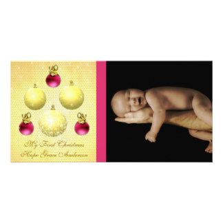 El oro y el ciruelo adorna mi 1ra foto del bebé tarjeta fotográfica personalizada