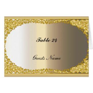 El oro y el metal miran el menú de la tarjeta del