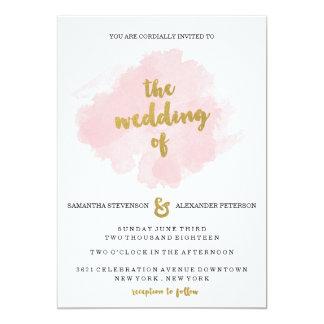 El oro y se ruboriza invitación del boda