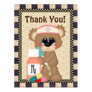 El oso de la enfermera le agradece postal