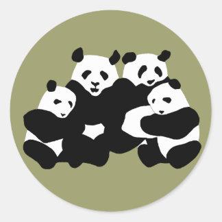 El oso de panda pegatina redonda