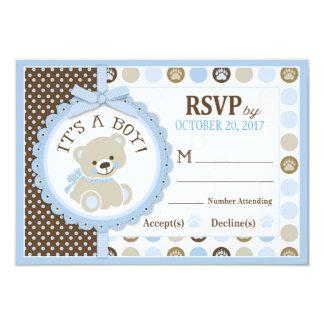 El oso de peluche azul Polk puntea la tarjeta de Invitación 8,9 X 12,7 Cm