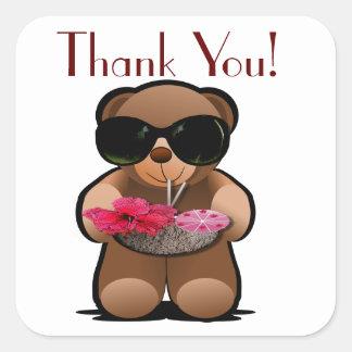 El oso de peluche le agradece etiquetar pegatina cuadrada