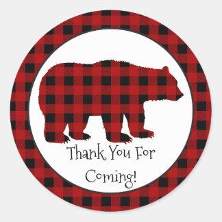 El oso del leñador del país le agradece ir de pegatina redonda