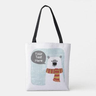 El oso polar del dibujo de Digitaces, su texto Bolso De Tela