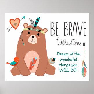 El oso tribal lindo sea cuarto de niños valiente póster