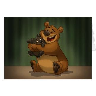 El oso y Cub cardan (el espacio en blanco dentro) Tarjeta De Felicitación