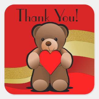 El oso y el corazón de peluche le agradecen pegatina cuadrada