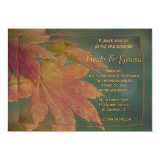 El otoño colorea la invitación del boda