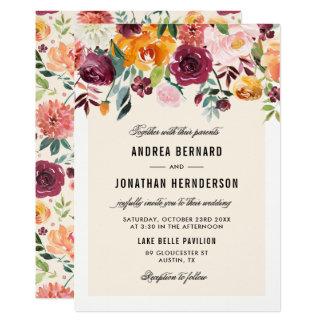 El otoño de la acuarela del vintage florece boda invitación 12,7 x 17,8 cm